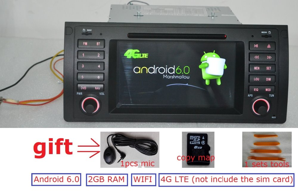 7 inch Android 6.0 for bmw E39,X5,M5,E53 car dvd,gps,wifi,4G lte,radio RDS,canbus,2GB RAM,quad core,1024×600,support dvr,russia