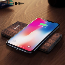 DCAE Wood Texture Wireless Charger Power Bank For iPhone X 8 Samsung S8 S9 S9+ Note 8 Fast Qi Wireless Safe Charging Desktop Pad