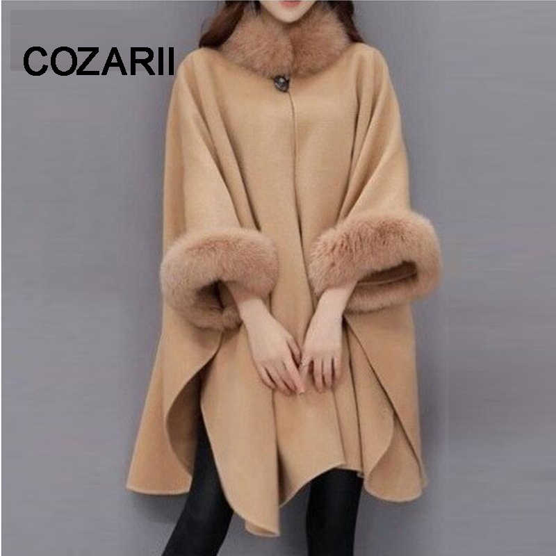COZARII Women Woolen Overcoat Camel Poncho Winter Knitwear Shawl Cape Women Loose Warm Outerwear Winter Plus Size 3XL Overcoat