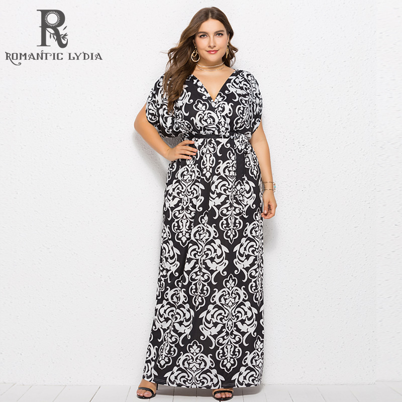 sneakers for cheap check out new images of US $36.56 |Women Autumn Vintage Plus Size Long Dress Female Black White  Floral Print Maxi Dress V Neck Loose Ladies Dresses Big Sizes-in Dresses  from ...