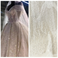 1 Yard expensive luxury silvery sequins shiny beading lace fabric for wedding! 2019 Best selling lady gowns lace beaded fabric