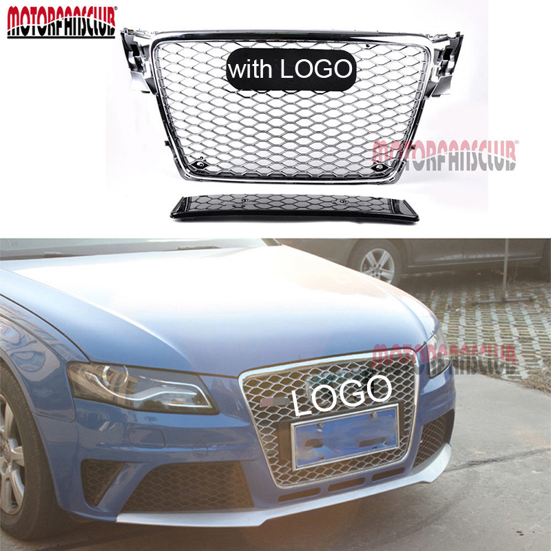 1Pc Car Racing Grille For Audi A4 B8 Grill RS4 Style 2009-2012 Logo Full Chrome Radiator Upper Trim Bumper Modify Mesh Honeycomb цена