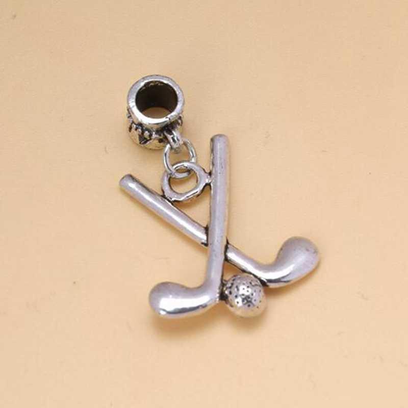 Nuevas joyas dijes de moda 5 uds. Colgante de plata antigua de Golf DIY cuentas colgantes pulsera 34X22mm S6439