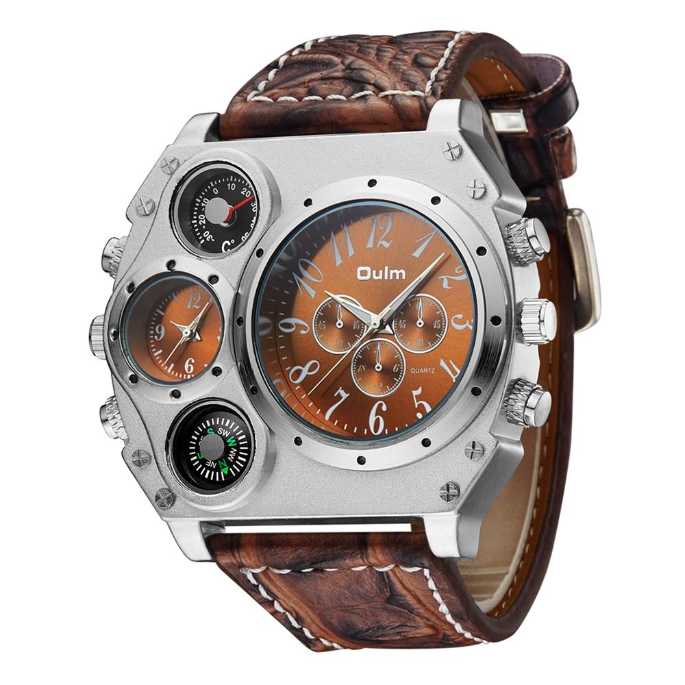 936bb2a9a0b Comprar Relógios Dos Homens de Quartzo com Pulseira de Couro Ocasional  relógio de Pulso dos homens Oulm Esportes Homem Multi Fuso Horário Militar  Masculino ...