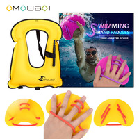 OMOUBOI Kids Yellow Water Stroke Practic Hand Web Fins Flippers With Air Inflatable Security Floatage Vest For Pro Swim Safe