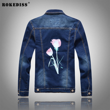 ROKEDISS 2017 New hot slim mens jackets and coats casual denim jacket men veste homme printing men jeans jacket male W068