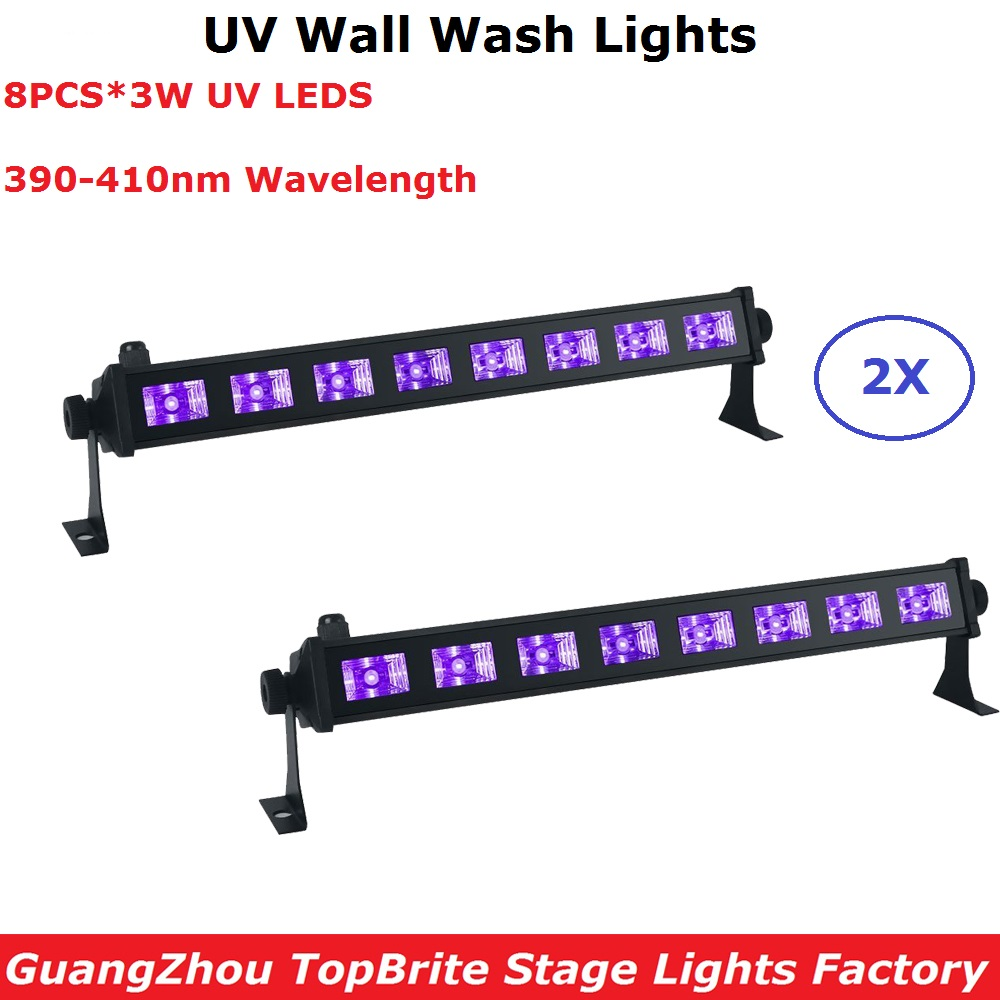2XLot LED Bar Lights 8X3W Violet LED Wall Washer Lights UV Color Washer Wall 110 240V Professional Indoor Shows Equipments|Stage Lighting Effect| |  - title=