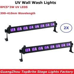 2 XLot светодиодный бар огни 8X3 Вт фиолетовый светодиодный прожекторы УФ Цвет Шайба стены 110- 240 В профессиональный Крытый показывает
