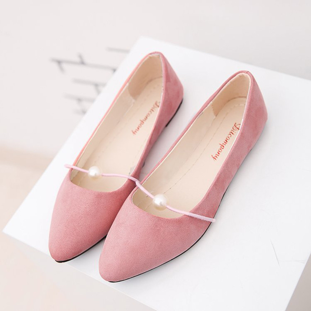 Flats Shoes Women  Pearl Candy Color Suede Flats Heel Ballet Basic Pointed Toe Ballerina Ladies Flat Slip On Shoes Zapatos Mujer