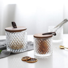 Glass Storage Tank With Wood Cover Spices Sugar Jar Container Kitchen Food Bottle Coffee Beans Tea Caddy 1pc