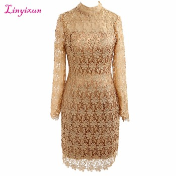 Linyixun Real Photo 2017 New Arrival Champagne Lace Cocktail Dress Sexy Scoop Knee Length Long Sleeve Straight Prom Dresses