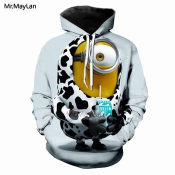 цена на Harajuku Cartoon Cute Minions Drinkjing Milk 3D Print Tracksuits Men/Women Hiphop Streetwear Hoodies Boys Kawaii Jacket Clothes