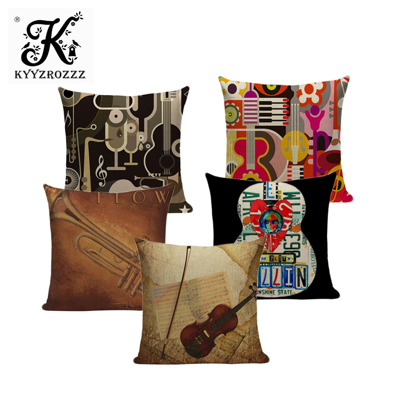 Active Components Candles & Holders Hearty Creative Linen Pillow Covers Home Decor Guitar Musical Instrument Print Cushion Cover Throw Pillows Sofa Car Seat Cushions