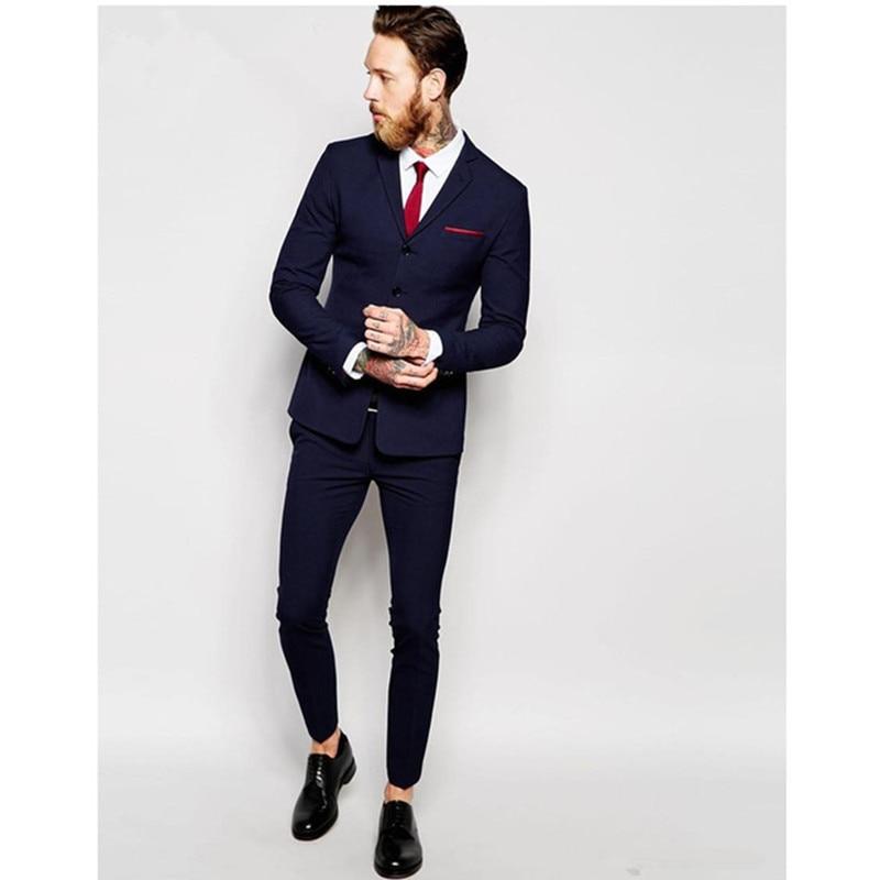 Bussiness Blue Autumn Gentlemen Handmade Plus Size Costume Homme Blazer Tuxedo Wedding Suits For Men 2018 Custom Made Men Suit