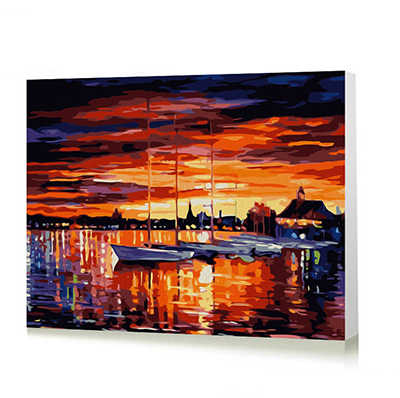 Abstract landscape street city river evening morning diy digital oil painting thick paint simple drawing number area painting