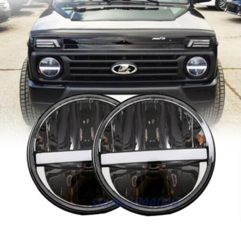 7 LED Headlight For Lada 4x4 Urban 7 Inch Round Headlamp With White DRL Amber Turn