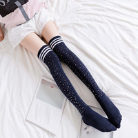 1 Pair Ladies Slender Fashion Striped Beads Knee Socks Women Girls Sexy High Knee Stockings Cotton College Style Long Stocking