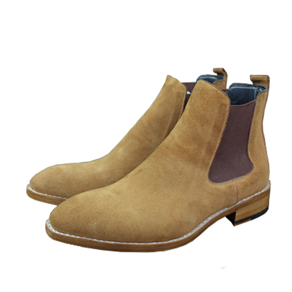 Sipriks Mens Genuine Cow Suede Boots Mens Flat Chelsea Boot Classic Stretch Leather Boots European American Work Boots Slip On