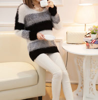 AQ178 Womens Trendy Mohair Loose Warm Soft Sweater Striped Printing Relaxed Knit Pullovers Mohair Sweaters