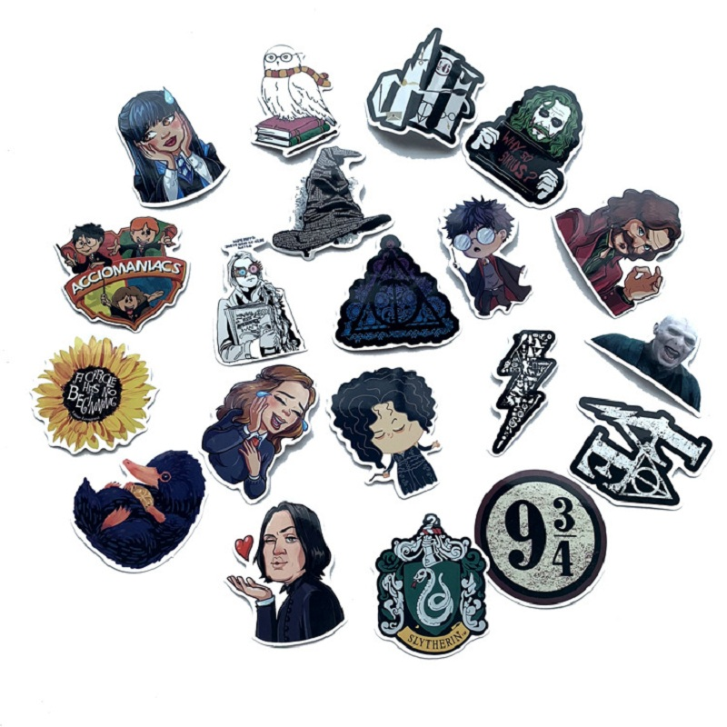 53pcs Luggage Sticker Harry Series Sticker Hogwart Character Ron Hermione Dobby Ginny Cute Magic World Wizard Fans Kids Party