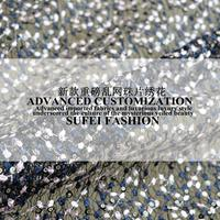 120cm wide white black blue sequins embroideried lace wedding dress cheongsam fabric S228