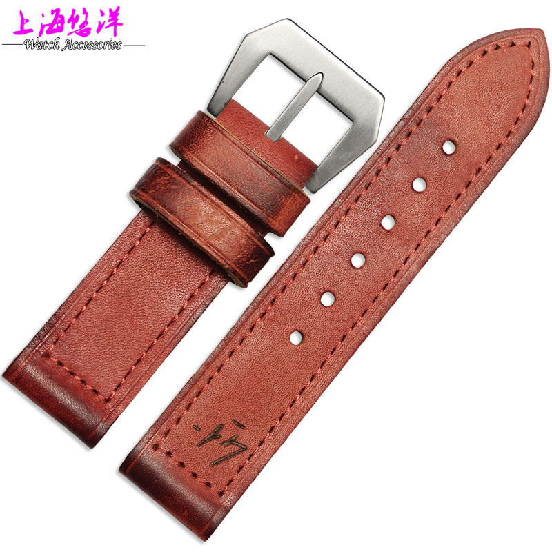 Leather watch band Retro Old Leather Bracelet accessories adapter pam111 male 24mm