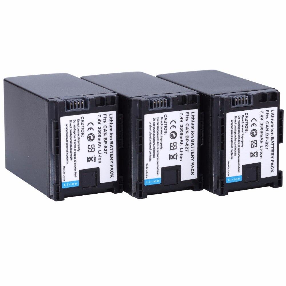 3 pièces Probty BP-827 BP 827 Batterie Pour Canon HF10 HF11 HF100 HF20 HF200 HF S10 S11 S100 S20 S21 S200 S30 G10 Appareil Photo Numérique