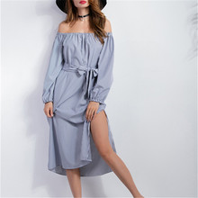 Primavera 2017 Casual e Elegante Vestido Sexy Hot Off Ombro Top Cintura Alta Dividir Vestido Túnica Coreano Longo de Uma Linha Do Vintage