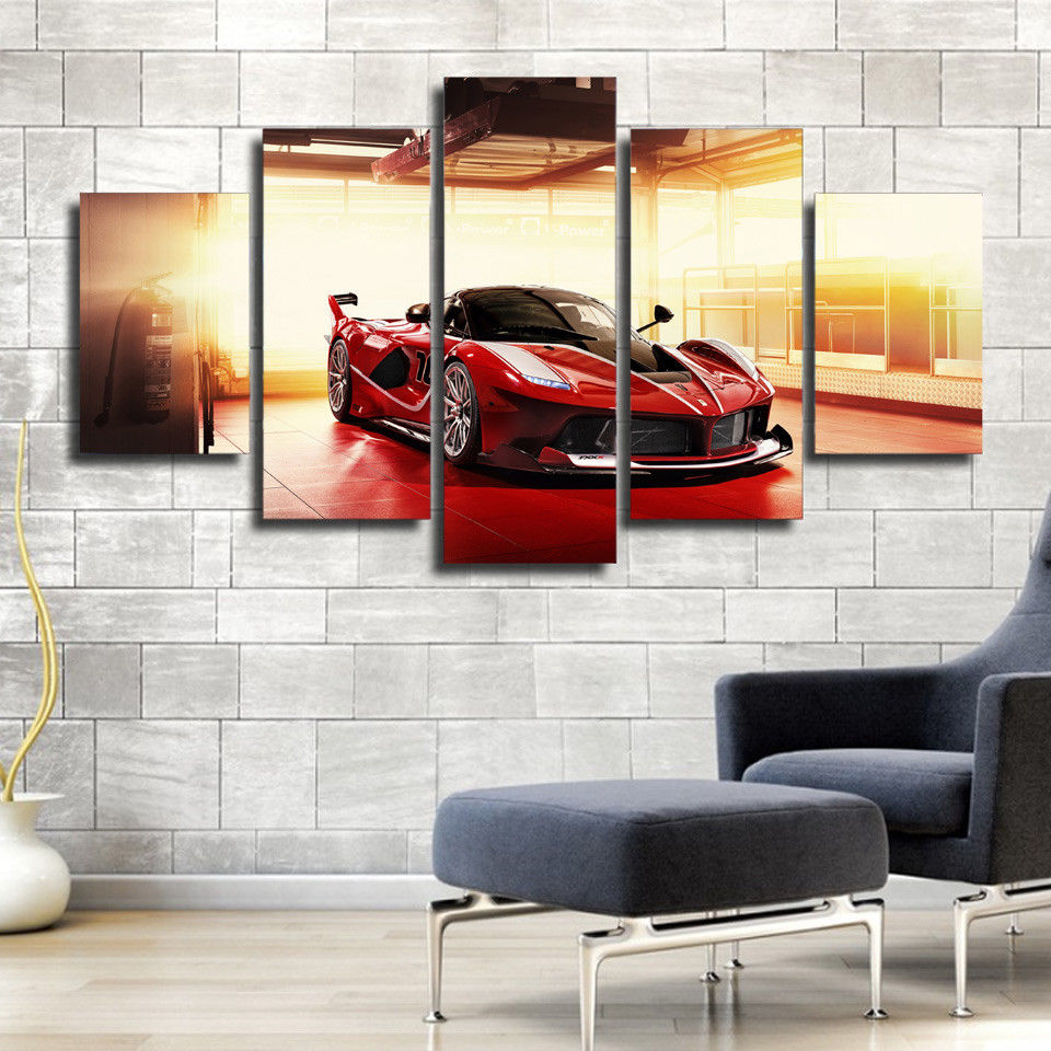 Hot sell 5 panels cool luxury car canvas paintings red sports card poster printer for living room sofa background wall decals