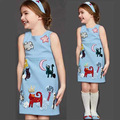 2017 Brand Princess Dress Girls Clothes Designer blue character appliques Girl Dresses drop shipping Kids clothing