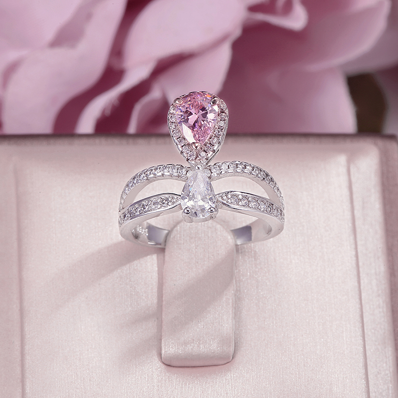 S925 Silver Crown Rings For Women Pink Diamant Cubic Zirconia Water Drop Ring Fine Jewelry Bridal Wedding Engagement Accessories
