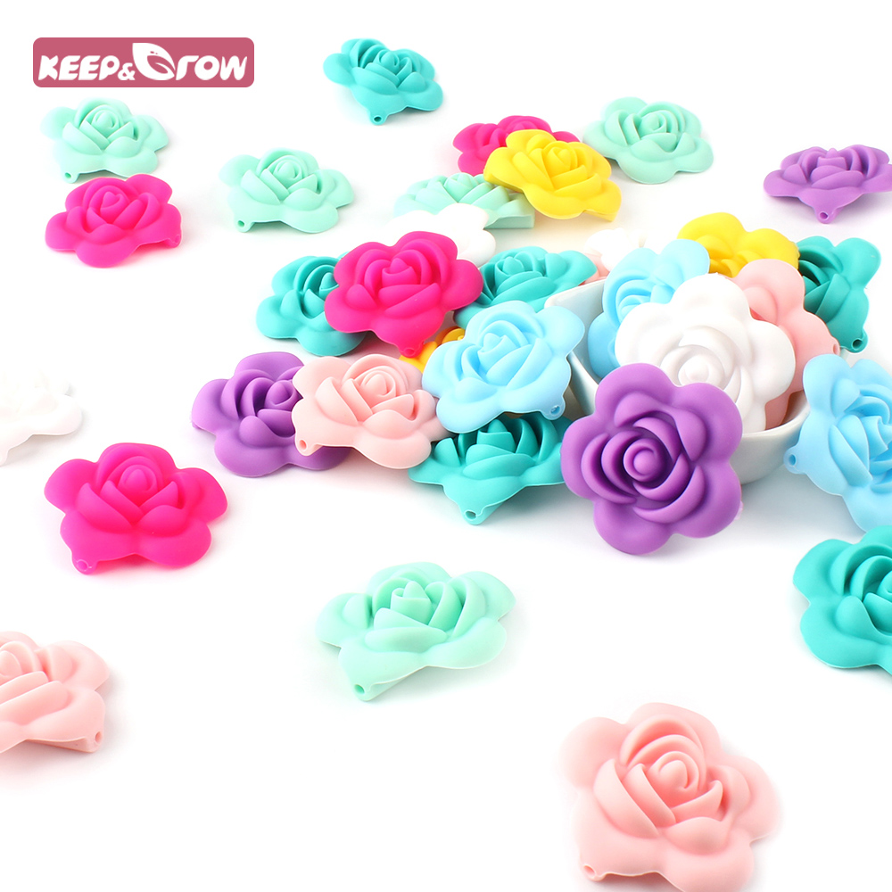 Jewelry & Accessories Teeny Teeth 9 Pcs Rose Silicone Beads Bpa Free Silicone 3d Rose Flower Diy Teething Beads For Food Grade Nursing Necklace Toys Attractive Appearance Beads & Jewelry Making