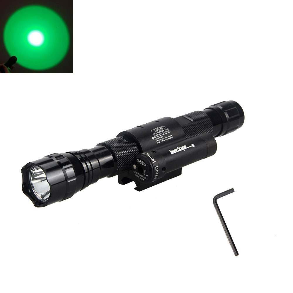 Tactical 2000 Lumens  Green/Blue/Red/White LED Flashlight Torch Light & Red Laser Dot Sight tales