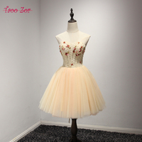 Amdml Royal Champagne Slim A Line Tulle Cocktail Dresses 2017 Real Photo Beading Cocktail Party Vestidos
