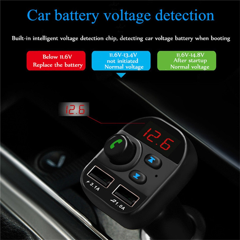 V5.0 Bluetooth Car FM Transmitter Wireless Radio Adapter USB Charger Car Mp3 Player Digital Tube Display Screen 40AP905