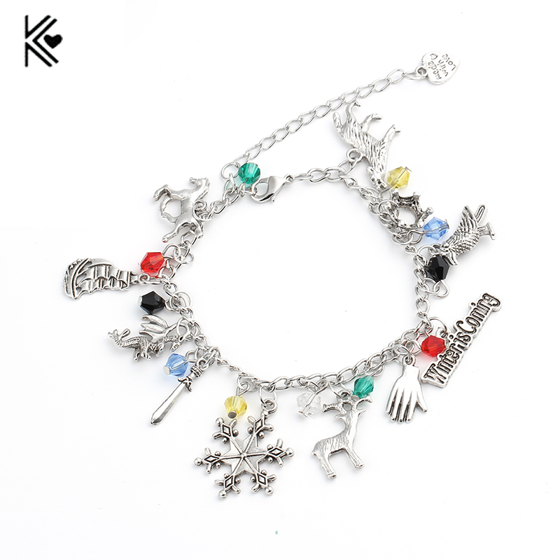 Game of Thrones Winter Is Coming Jewelry charm Bracelet Wolf Snowflake Lion Horse Compass Women Men Christmas Gift Accessories