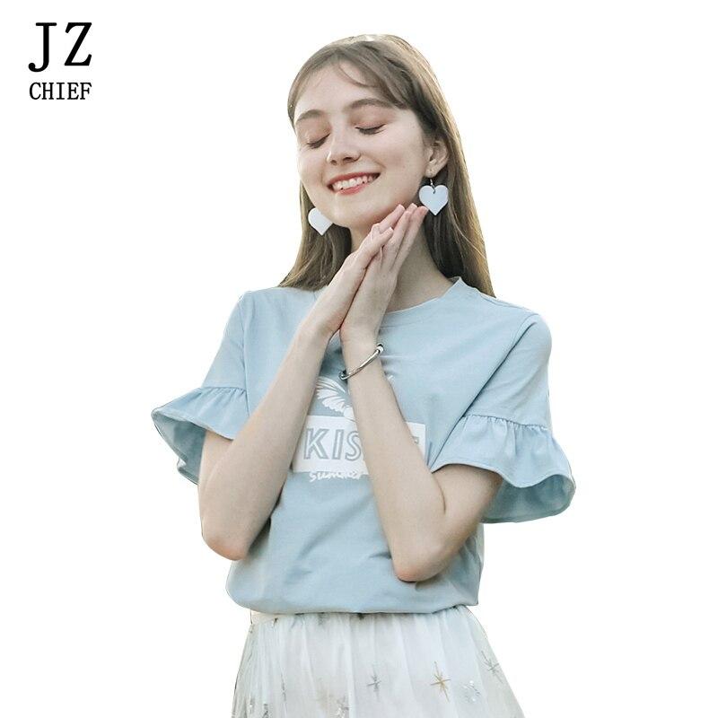 JZ CHIEF Casual o-neck pint t-shirt korean women 2018 summer elegant short flare sleeve tees light blue japanese sweet lady tops