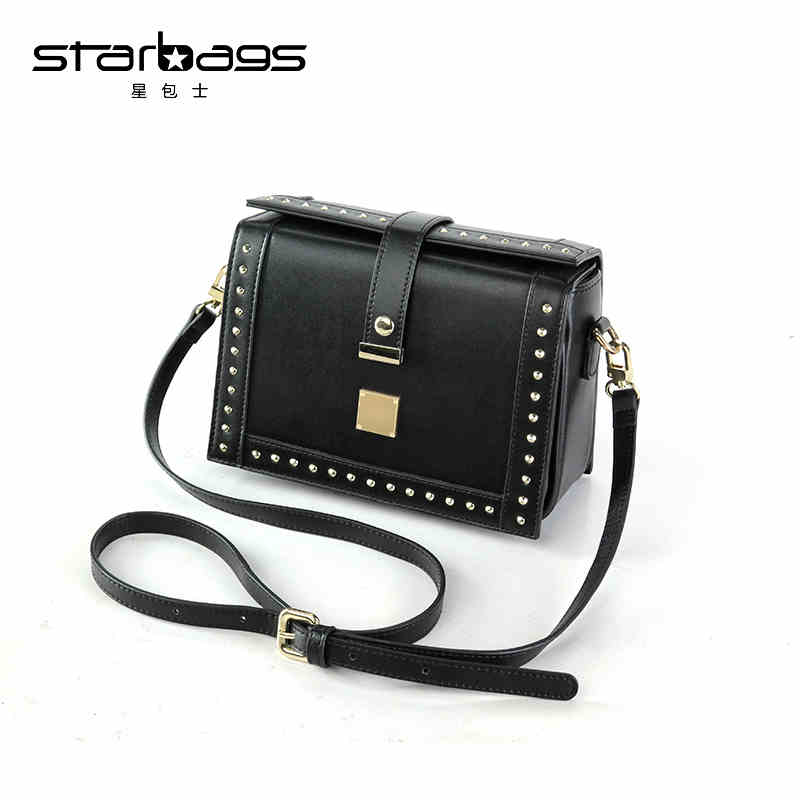 star bags new fashion crossbody bags small flap rivet pu leather shoulder bag 2018 designer