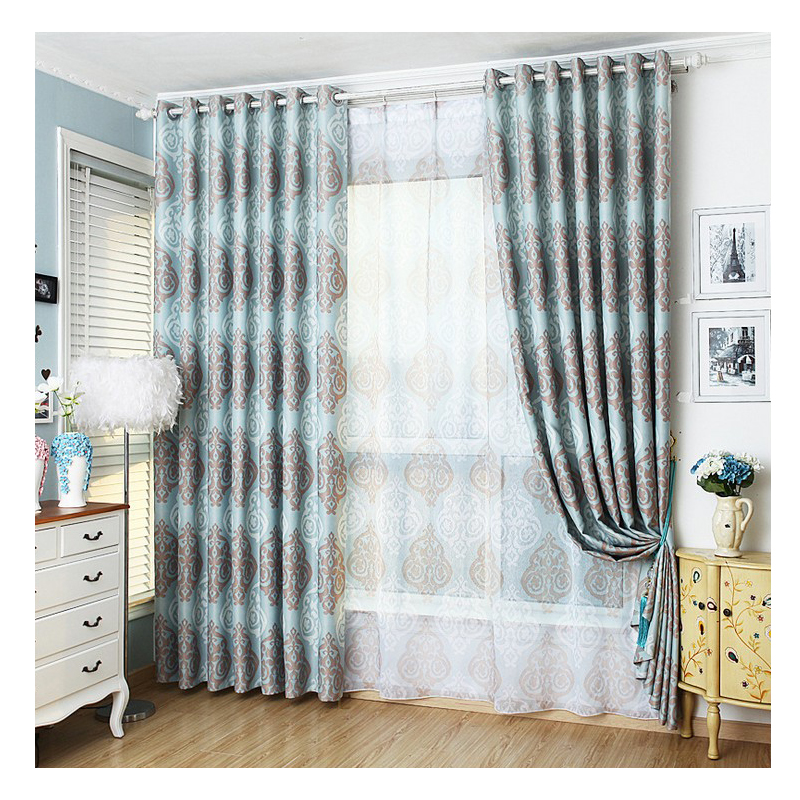 European Style Design Jacquard Curtain Fabrics For Window Balcony Living Room European Style Curtains Sky Blue