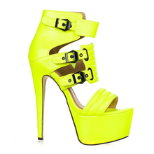 2016 High Heel Sandals Open Toe Ankle Summer Booties Sexy And Candy Color Platform Style Sandals Thick Bottomwomen Shoes
