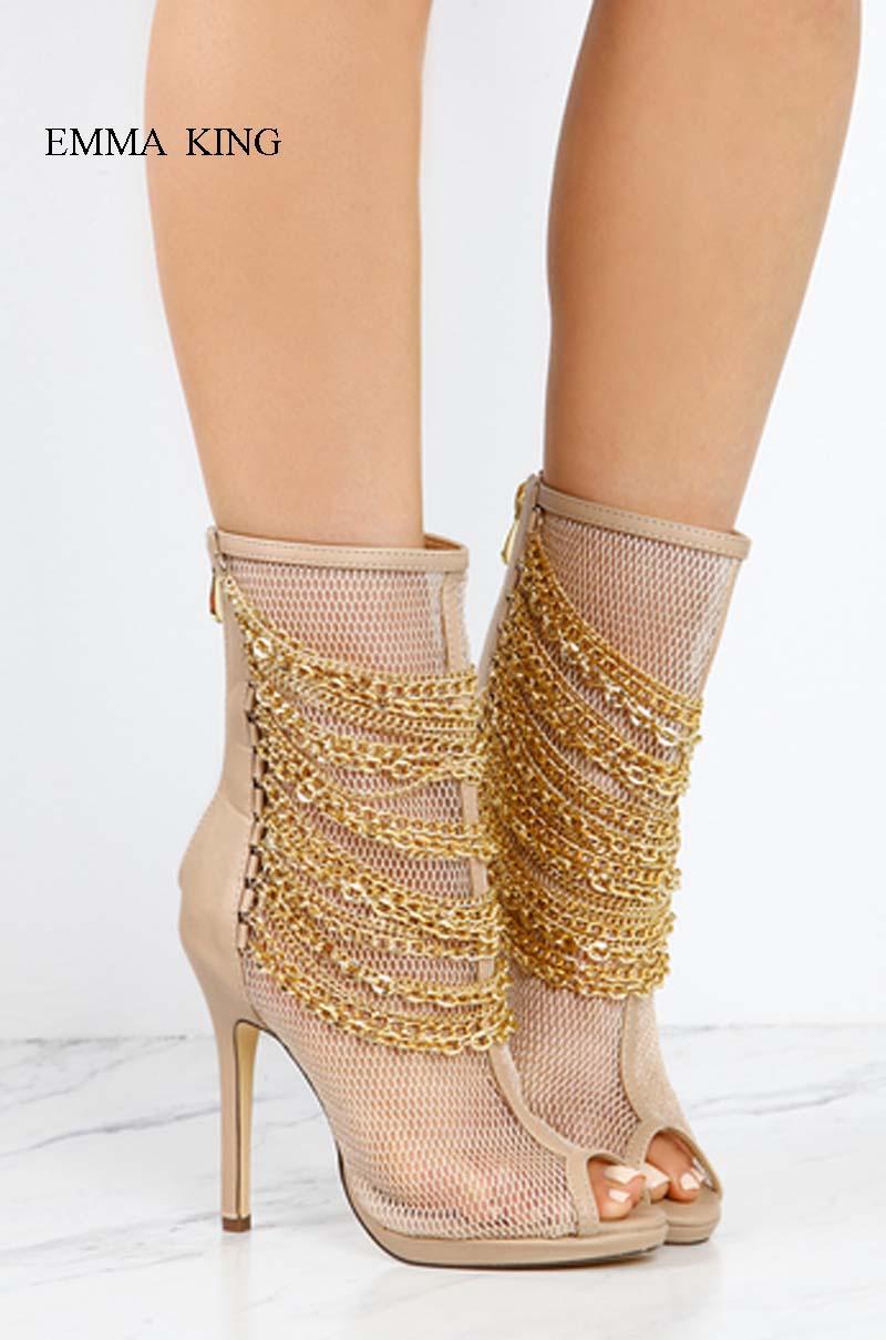 Mince À Mesh Talons Ouvert Bottes Bottines Haute Femmes Mujer Chaînes Pic D'été Décoré 1 Chaussures Botines Zipper Air Out 2 Bout Creux pic WYw5gnqOc