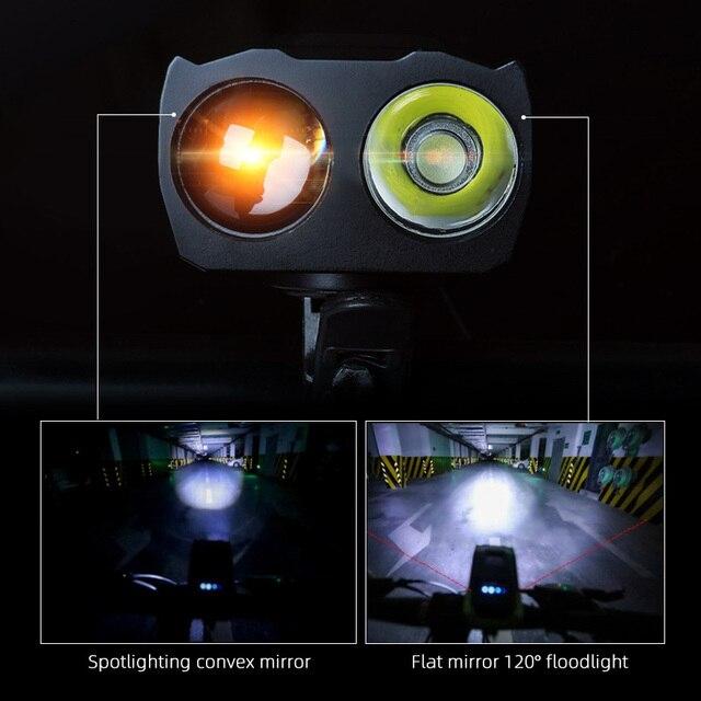 4000 mAh Inteligente Indução Luz Da Frente Da Bicicleta Conjunto USB Recarregável 800 Lumen LED Head Light com Chifre Da Bicicleta Lâmpada Ciclismo lanterna 5