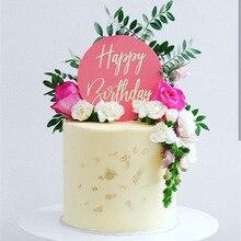 """Bolo acrílico letras de ouro """"feliz aniversário"""", brinquedo de bolo 2020 círculo vermelho, transparente para decorações de bolo de festa de aniversário"""