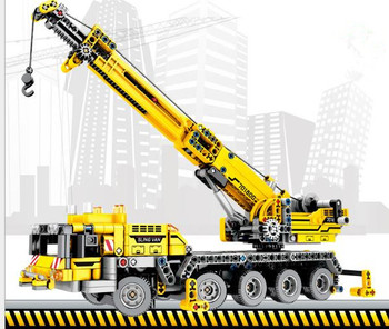 665PCS Construction vehicle block children's toy car simulation excavator mixer truck fire truck model Compatible with Legoings