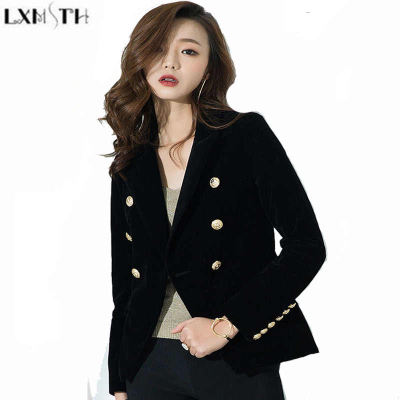 965af35301c29 LXMSTH Double Breasted Blazer Women Short Slim Ladies Velvet Coats New  Arrival 2019 Women s Blazers And