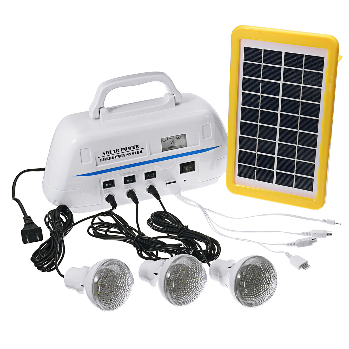 Smuxi Outdoor Portable Solar Generator System with Rechargeable Battery for Emergency Light Hand Hiking Lighting