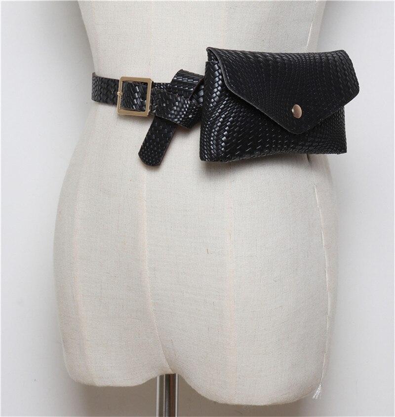 mulheres tricô saco da cintura do couro