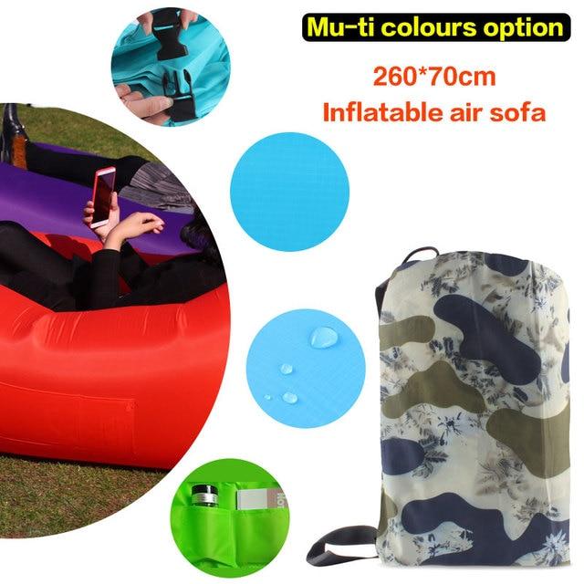 260*70cm Fast Inflatable Lazy bag Air Sleeping Bag Camping Portable Air Sofa Beach Bed Air Hammock Nylon Banana Sofa Lounger