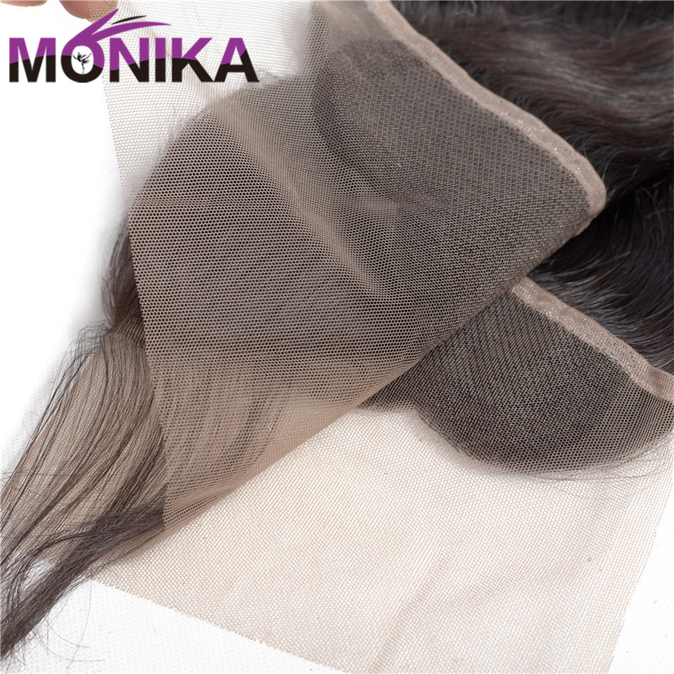Monika Hair Indian Body Wave 13x4 Lace Frontal FreeMiddleThree Part Ear to Ear Non Remy Human Hair Pre Plucked Lace Closure (5)