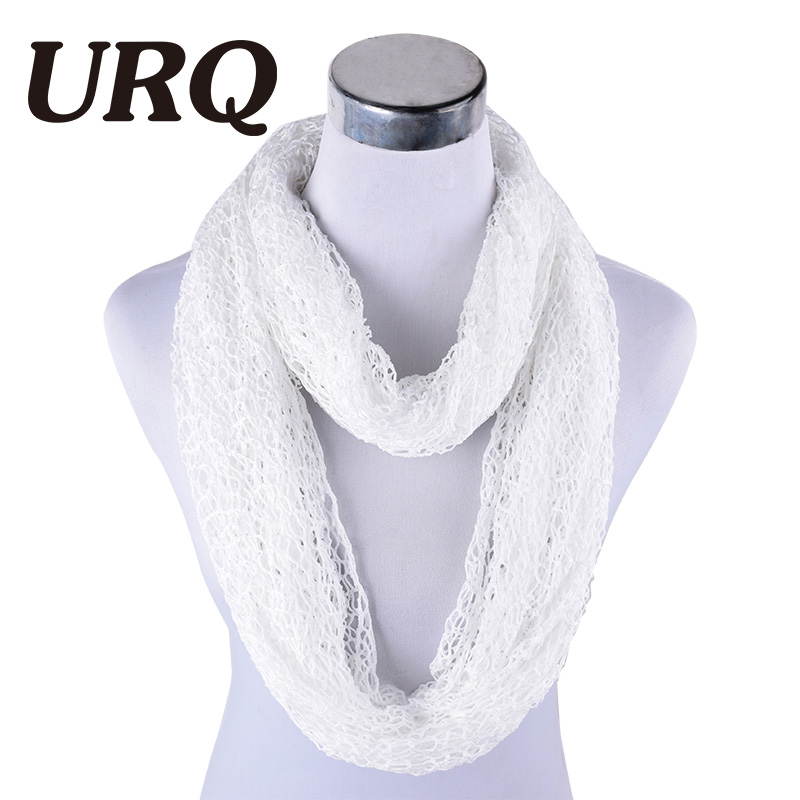 [URQ] Women Ring Scarves Handmade Wraps Hollow Out Short Mesh Shawl Cover Up Lady loop Scarves Wedding Scarf P7A16874